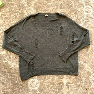 Garage Distressed Cropped Grey Fall V-Neck Sweater
